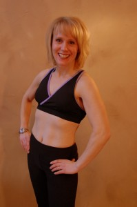 Karen after 8 months of Fit Moms For Life Weight Training and Interval Training Workouts and 20 lbs lighter